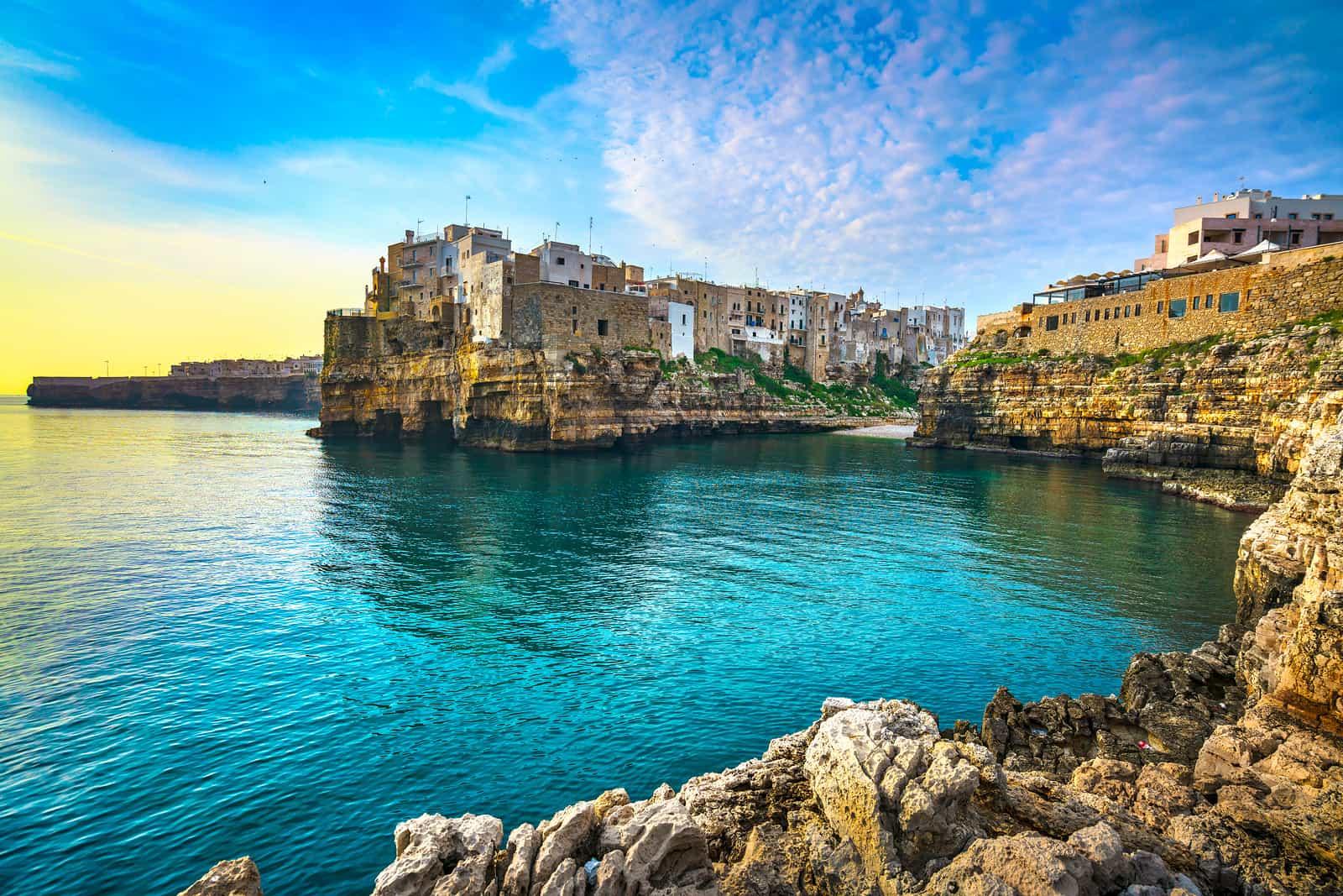 Polignano A Mare Village On The Rocks At Sunrise, Bari, Apulia,